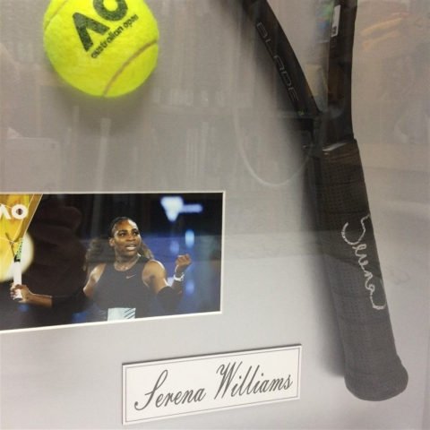 detail of serena williams signed racquet 640x480 1